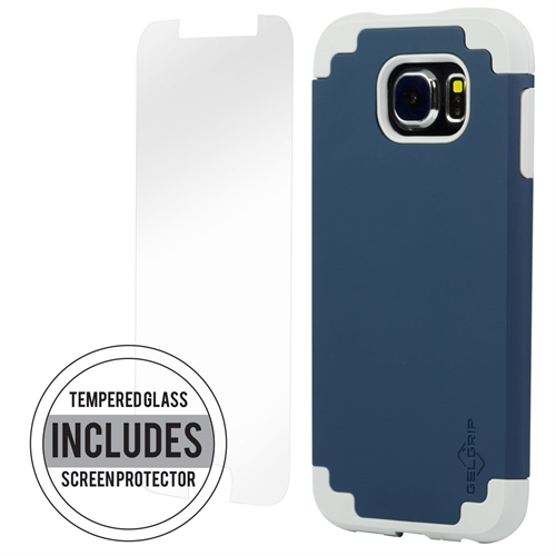 SAMSUNG S6 BLUE ON GREY DUAL CASE INCLUDES TEMPERED GLASS