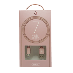 LBT 7 FEET MICRO USB CABLE ROSE GOLD W/ METAL CONNECTOR