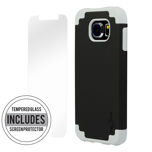 SAMSUNG S6 GREY ON BLACK DUAL CASE INCLUDES TEMPERED GLASS