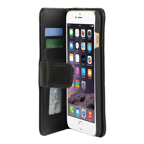IPHONE 6/6S PLUS BLACK WALLET CASE