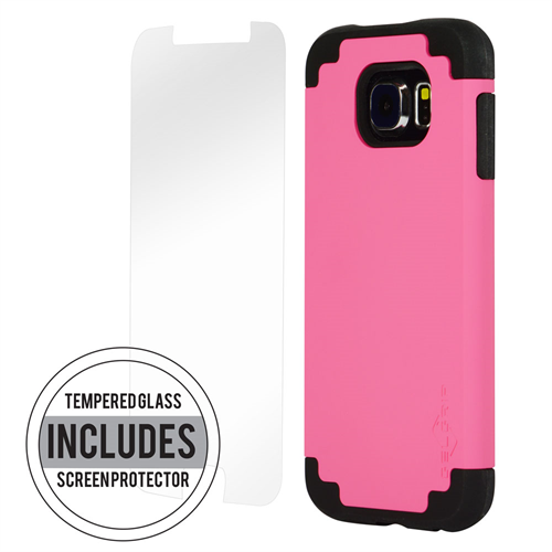 SAMSUNG S6 BLACK ON PINK DUAL CASE INCLUDES TEMPERED GLASS