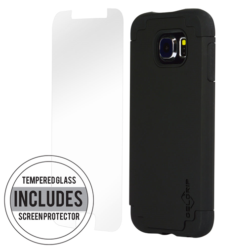 SAMSUNG S6 BLACK ON BLACK DUAL CASE INCLUDES TEMPERED GLASS