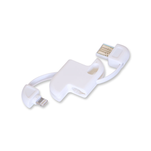 LIGHTNING ADAPTOR WITH USB DATA CABLE KEYCHAIN STYLE WHITE