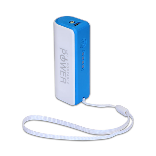 LBT 2600mAH WHITE AND BLUE POWERBANK WITH FLASH LIGHT