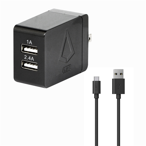 LBT 3.4 AMP DUAL PORT WALL CHARGER W/ 5 FEET USB-C CABLE