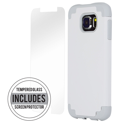 SAMSUNG S6 WHITE ON GRAY  DUAL CASE INCLUDES TEMPERED GLASS
