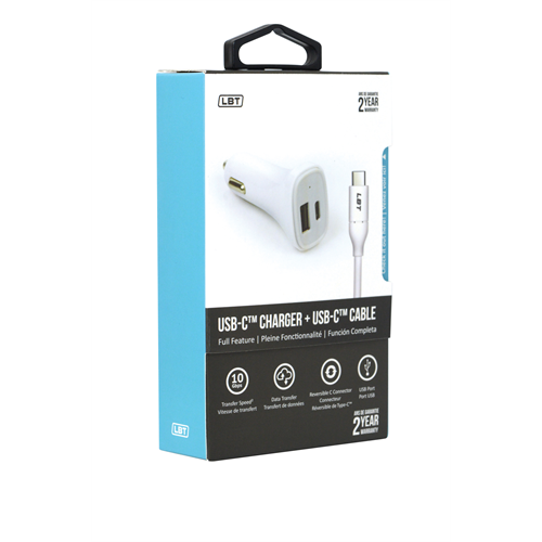 LBT 3 AMP DUAL PORT CAR CHARGER WITH USB-C FOR LGG 5/HUWAEI NEXUS 6P