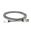 Additional Images for LBT 7 FEET MFI BRAIDED BLACK/WHITE LIGHTNING CABLE W/ METAL CONNECTOR