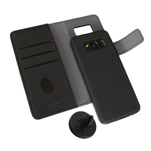LBT SAMSUNG S8 SWITCH WALLET CASE CARBON BLACK WITH MAGNET VENT HOLDER