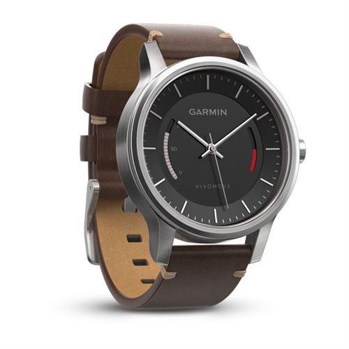 vivomove Premium, Stainless Steel w/ Leather Band, WW (English-only packaging)