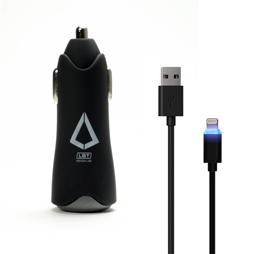 LBT APPLE APPROVED DUALPORT 4.8amp CAR CHARGER W/ LED LIGHTNING CABLE