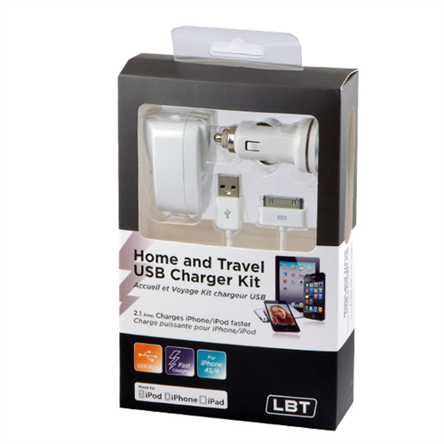 LBT APPLE APPROVED HOME AND CAR USB CHARGING KIT
