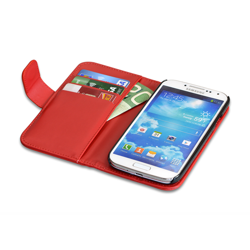 RETAIL PKGD. GALAXY S4 RED FLIP LAMBSKIN COVER