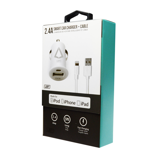 LBT APPLE APPROVED 2.4 AMP SMART CAR CHARGER W/ DETACHABLE LIGTHNING CABLE