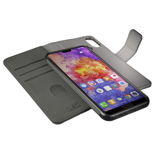 LBT HUAWEI P20 SWITCH WALLET CASE CARBON BLACK WITH MAGNET VENT HOLDER