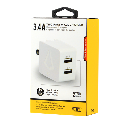 LBT 2.4aMP + 1aMP FOLDABLE TRAVEL WALL CHARGER